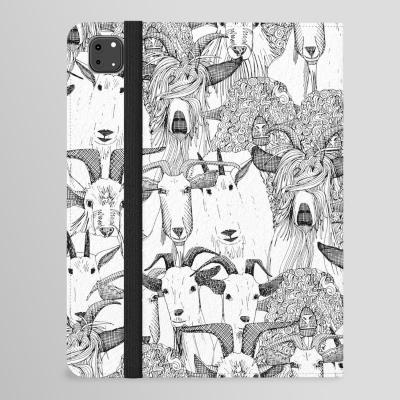 just goats black white Society6 iPad folio case Sharon Turner