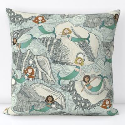 little mermaids big shells blue spoonflower throw pillow sharon turner