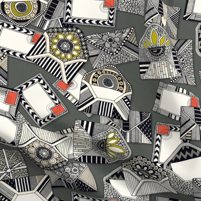 mail scatter graphite sharon turner spoonflower