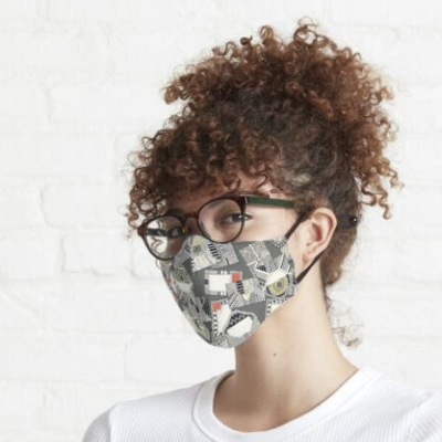 mail scatter graphite redbubble fitted mask sharon turner