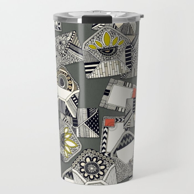 mail scatter graphite society6 travel mug sharon turner