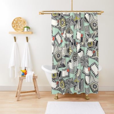 mail scatter mint redbubble shower curtain sharon turner