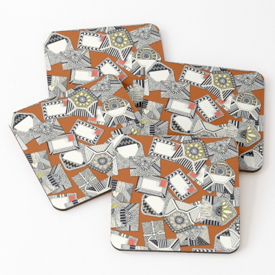 mail scatter rust redbubble coasters sharon turner