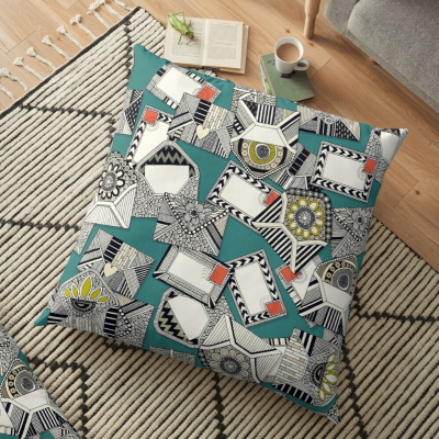 mail scatter teal redbubble floor pillow sharon turner