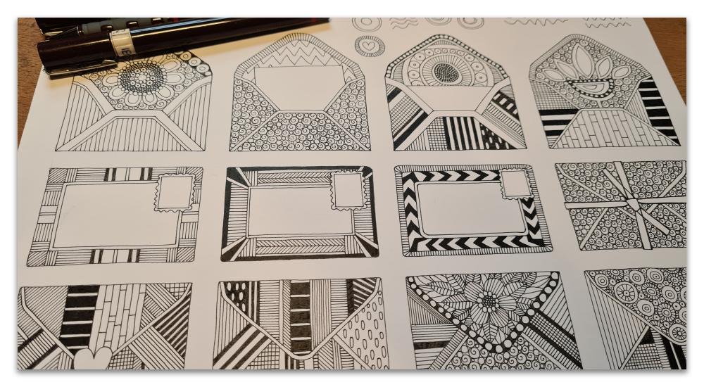 mail scatter work in progress illustration sharon turner
