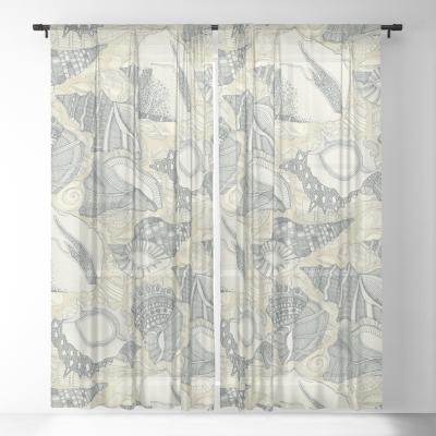 shells cream society6 sheer curtains sharon turner