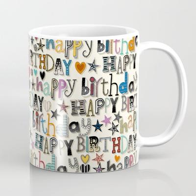 happy birthday hearts and stars society6 coffee mug sharon turner
