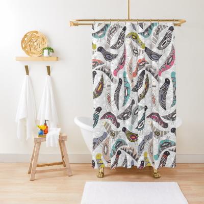 scatter bird scallop white redbubble shower curtain sharon turner