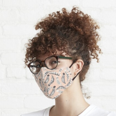 scatter birds pale peach redbubble fitted mask sharon turner