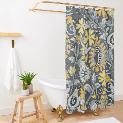 ZAFER yellow gray redbubble shower curtain sharon turner