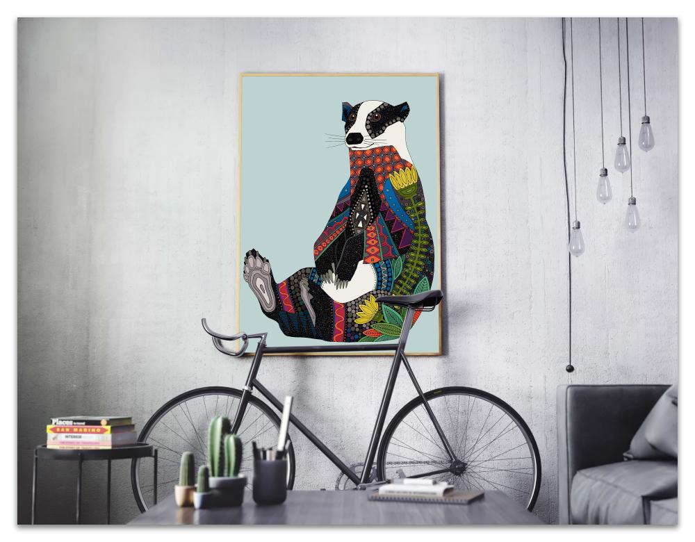 badger celadon blue art print society6 sharon turner