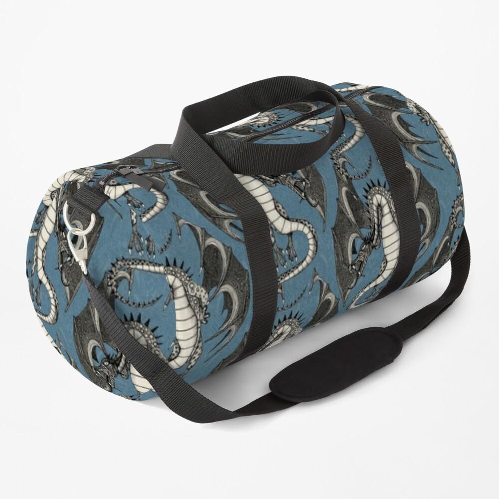 dragon damask blue redbubble duffle bag sharon turner