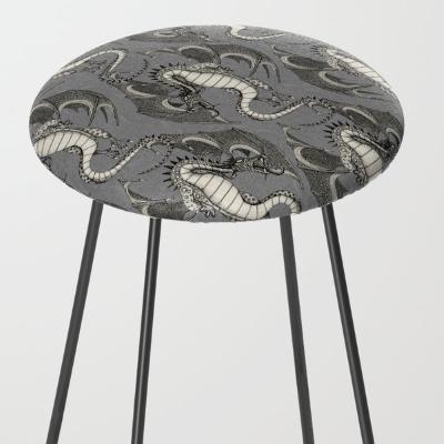 dragon damask gray society6 counter stool sharon turner