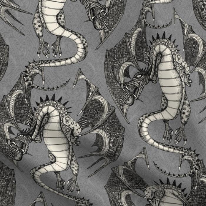 dragon damask gray large spoonflower sharon turner