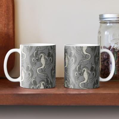 dragon damask gray redbubble coffee mug sharon turner