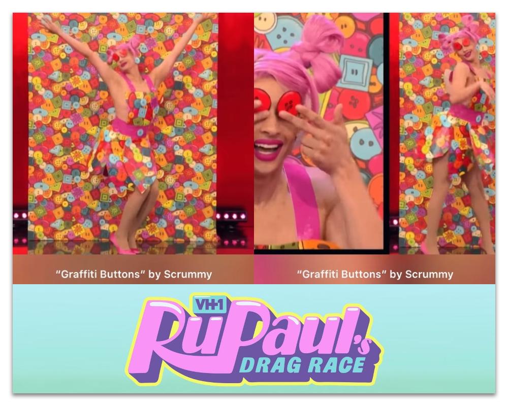 Denali wearing Graffiti Buttons spoonflower wallpaper RuPaul's Drag Race Season 13 episode 6