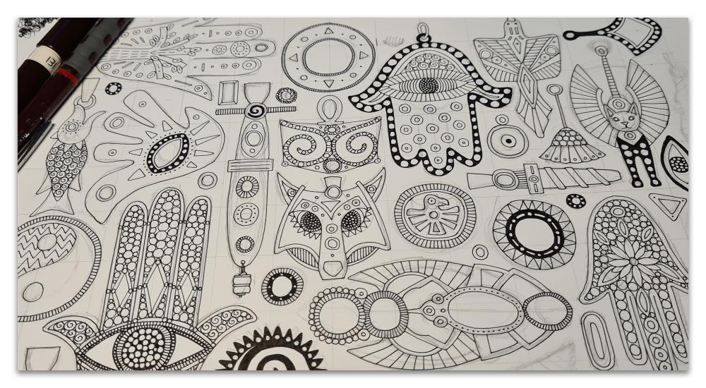 TALISMANS WIP sharon turner illustration spoonflower