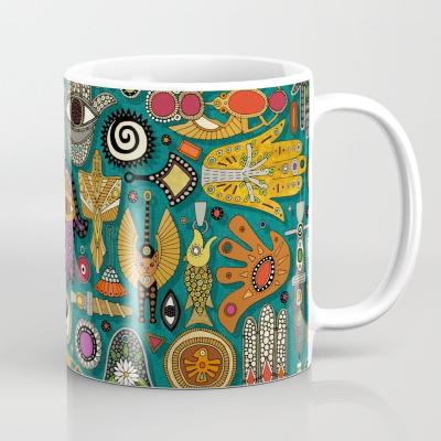 TALISMANS viridian green society6 coffee mug sharon turner