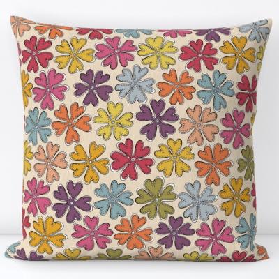 YAZ cream multi spoonflower throw pillow cushion sharon turner