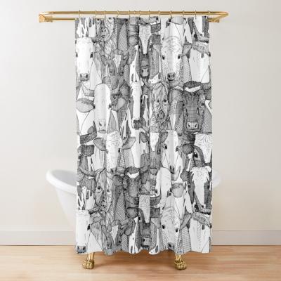 just ox black white redbubble shower curtain sharon turner