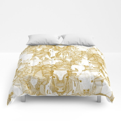 just ox gold white bed comforter society6 sharon turner
