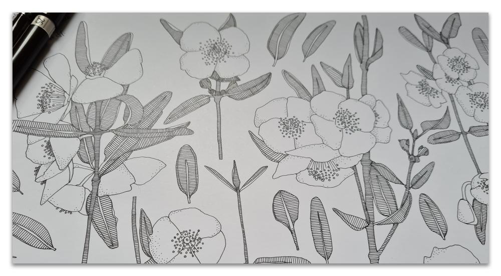 pink cloud WIP work in progress illustration sharon turner spoonflower