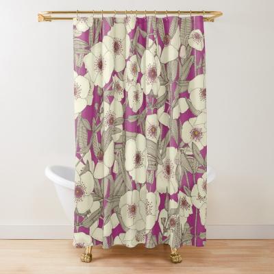 pink cloud magenta redbubble shower curtain sharon turner