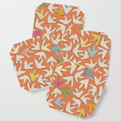 YARPRAK orange society6 coasters sharon turner