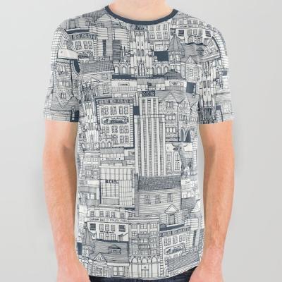 Durham NC toile indigo society6 print all over tee shirt sharon turner