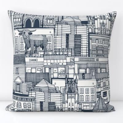 Durham NC toile indigo spoonflower throw pillow cushion sharon turner scrummy