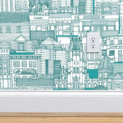 Durham NC toile turquoise spoonflower wallpaper sharon turner