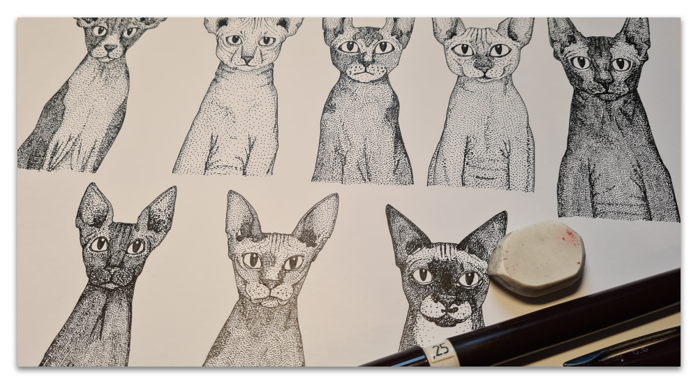 just sphynx cats work in progress illustration sharon turner WIP