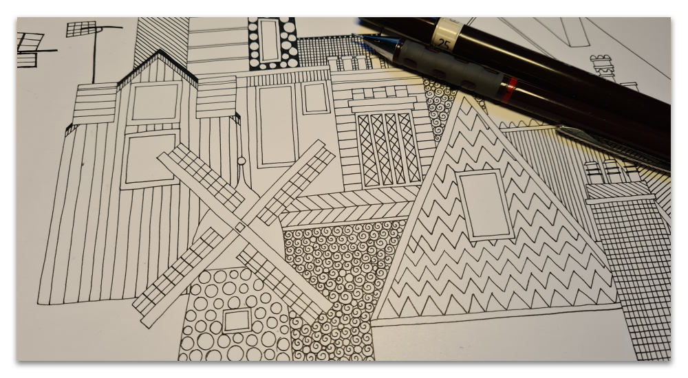 windmill and rooftops work in progress illustration sharon turner