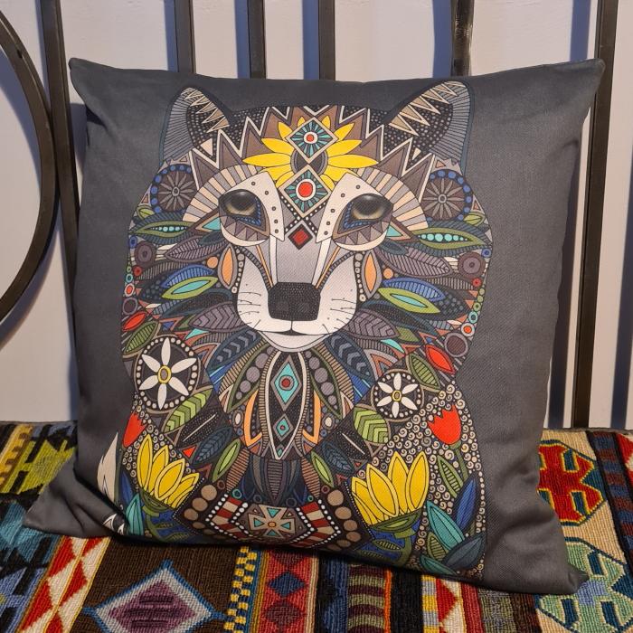 WOLF ebony illustration pillow front spoonflower scrummy sharon turner lightweight cotton twill