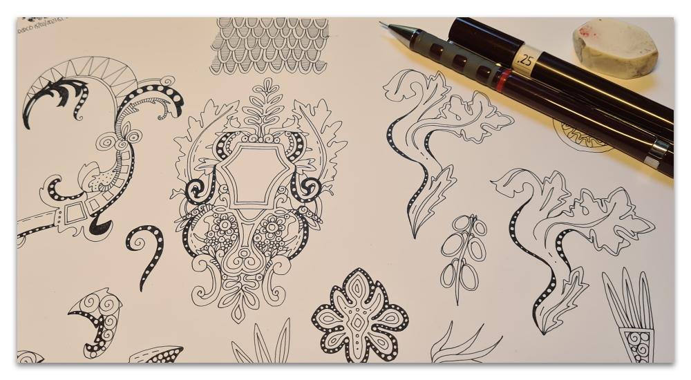 boho rococo illustration work in progress sharon turner scrummy spoonflower