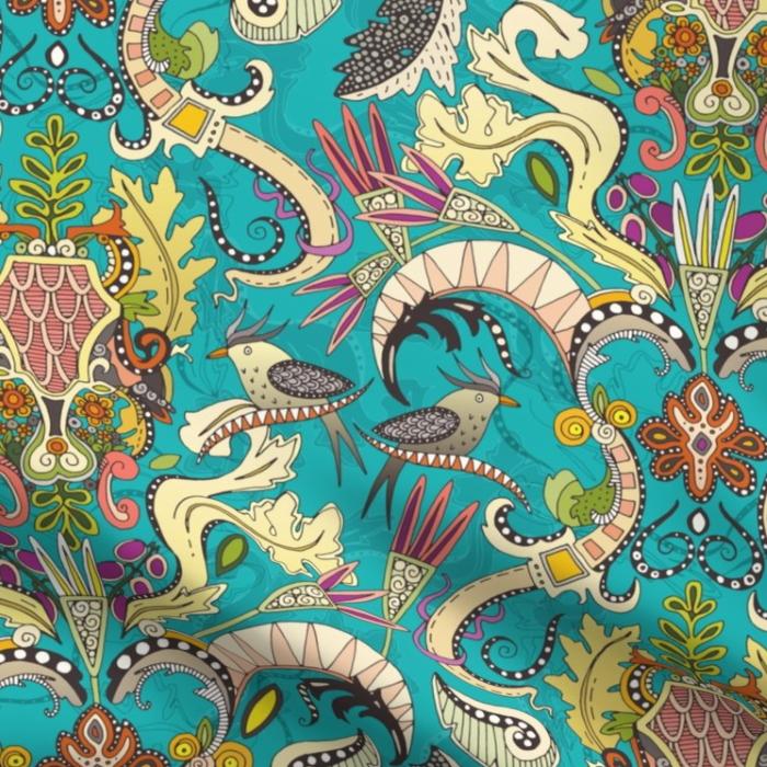 boho rococo turquoise spoonflower scrummy fabric