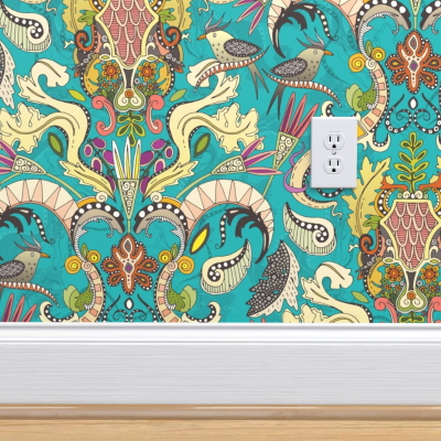 b0oho rococo turquoise spoonflower wallpaper sharon turner scrummy