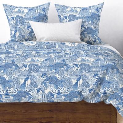 chinoiserie toile blue spoonflower duvet cover sharon turner scrummy
