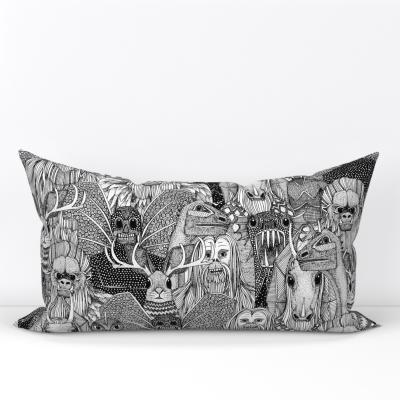 cryptid crowd black white spoonflowe home decor rectangular lumbar pillow cushion sharon turner scrummy