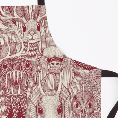 cryptid crowd red pearl redbubble apron sharon turner