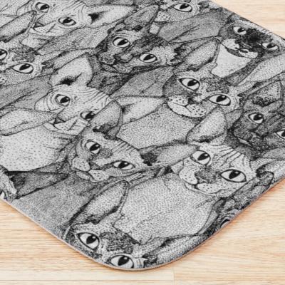 just sphynx cats black white redbubble bath mat sharon turner
