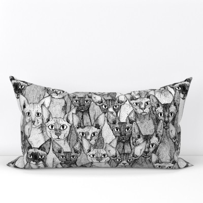 just sphynx cats black white spoonflower lumbar pillow sharon turner