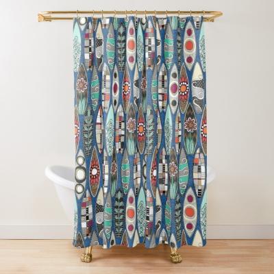 surfboards blue redbubble shower curtain sharon turner