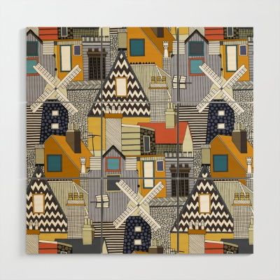 windmill and rooftops gold wood wall art sharon turner