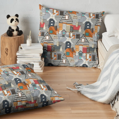 windmill and rooftops sienna redbubble floor pillow cushion sharon turner