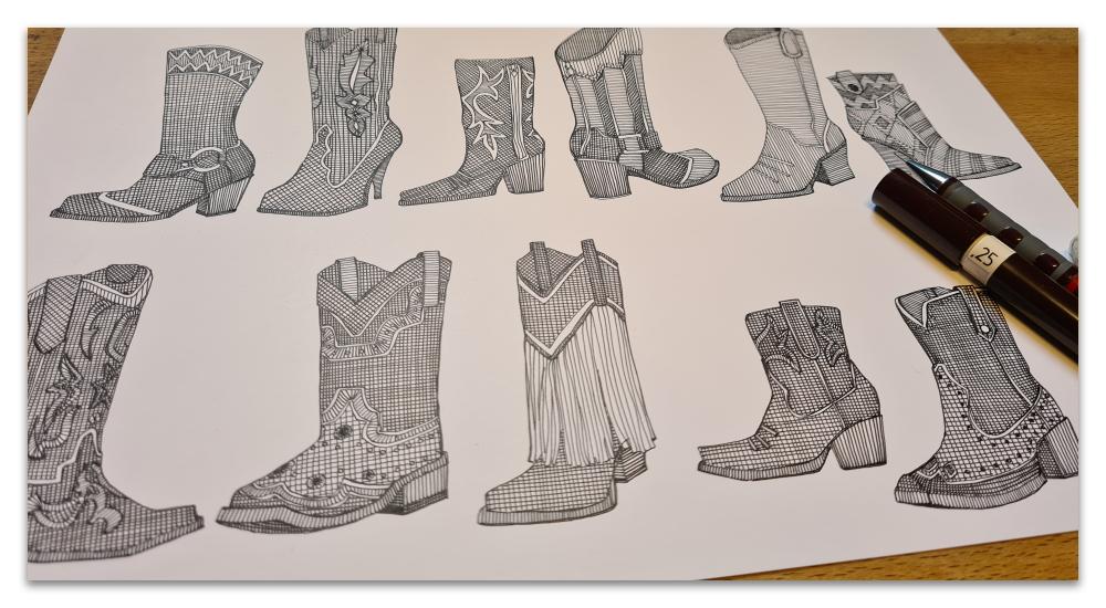 country girl boots work in progress illustration sharon turner