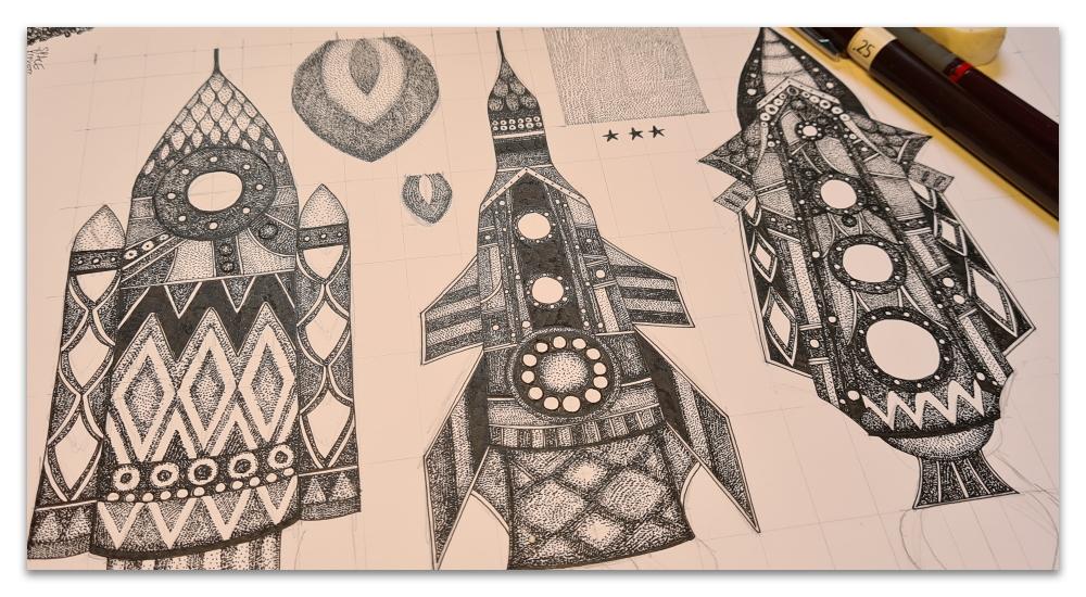 WIP space rockets spoonflower sharon turner drawing