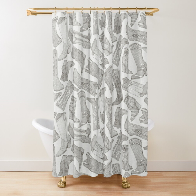 country girl boots mono redbubble shower curtain sharon turner