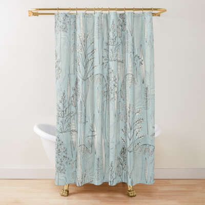 meadow feathers celadon blue redbubble shower curtain sharon turner
