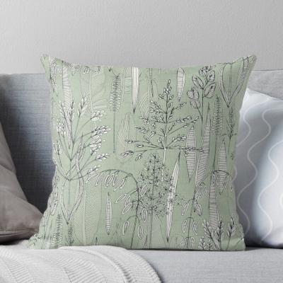 meadow feathers eucalyptus redbubble throw pillow sharon turner